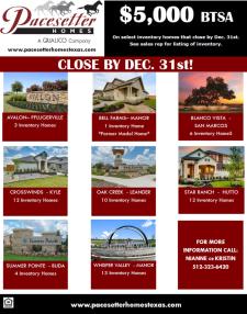 $5,000 BTSA On Select Inventory Homes*!