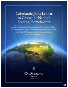 CalAtlantic Joins Lennar To Create The Nation's Leading Homebuilder!