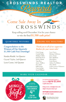 Crosswinds Announces Quarterly Cash Winners!