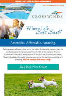 Dog Park Now Open at Crosswinds in Kyle! Schedule Your Inventory Tour Today!