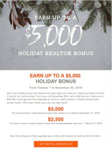 Earn up to a $5,000 Holiday Realtor Bonus