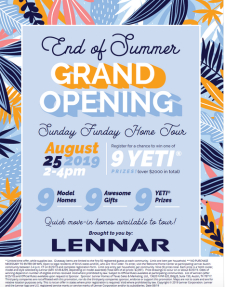 End of Summer Grand Opening Tour!