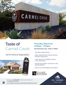 Food, Drinks, and Tour of Carmel Creek - Enter to Win Prizes!