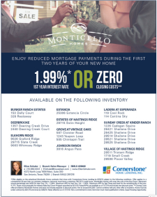 Incredible 1.99% Interest Rate on Select Move-In Ready Homes!