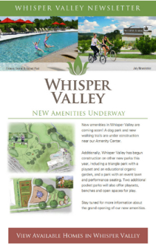 New Amenities Coming to Whisper Valley