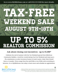 Tax-Free Weekend Sale - Up To 5% Commission!