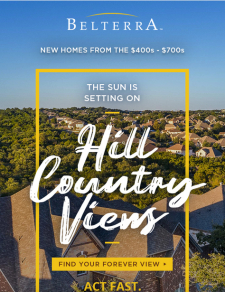 The Sun is Setting on Hill Country Views - Only 11 90-Foot Lots Left!