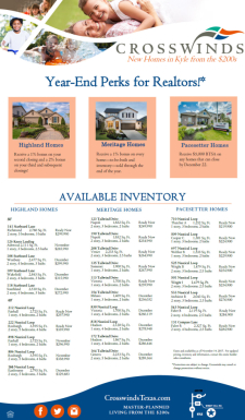 Year-End Perks for Realtors at Crosswinds in Kyle