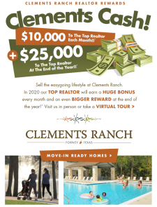 $10k bonus to top MONTHLY Realtor at Clements Ranch in Forney! $25k for the year!