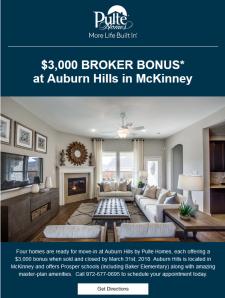 $3,000 Broker Bonus on these Pulte Homes!
