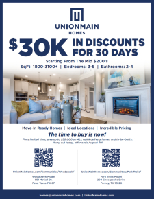 $30,000 OFF ALL UnionMain Homes for 30 Days
