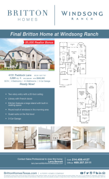 Additional Bonus on Final Britton Home at Windsong Ranch!