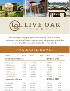 Affordability in Fort Worth – Homes available now at Live Oak Creek from $239,000