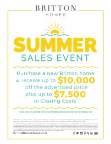 Britton Homes Summer Sales Event through August 31st