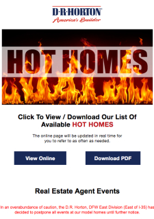 Hot Homes + Agent Events Postponement Notice!