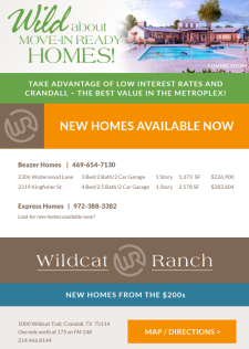 Check out the move-in ready homes at Wildcat Ranch in Crandall