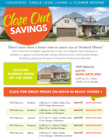 Close Out Savings at Orchard Flower in Flower Mound