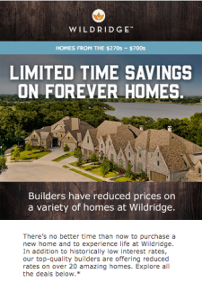 Don't miss builder discounts at Wildridge.
