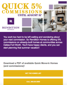Earn 5% on Commissions on Move-In Ready Homes!