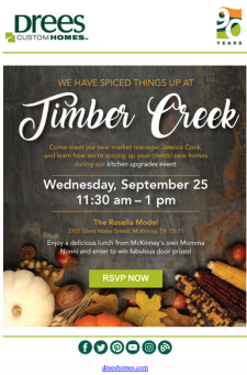 Have Lunch with our New Drees Market Manager in Timber Creek!