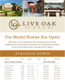Inventory homes from $250's in Live Oak Creek Ft. Worth!