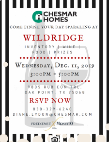 Join us at Wildridge for Inventory, Wine, Food, and Prizes!