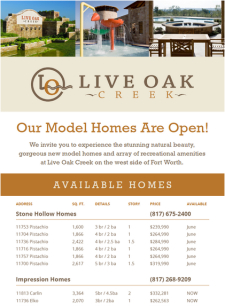 Live Oak Creek in FW has homes available now and models are open!