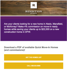 Make up to $15,800 Commission, See Move-in Ready Homes | Rendition Homes