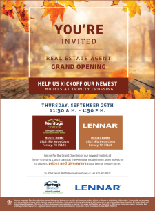 Meritage Homes and Lennar Grand Opening at Trinity Crossing in Forney, Thursday, Sept. 26th