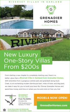 New Luxury One-Story Villas from $200s by Grenadier Homes at Riverset in Garland