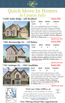 New quick move in homes in Canyon Falls!