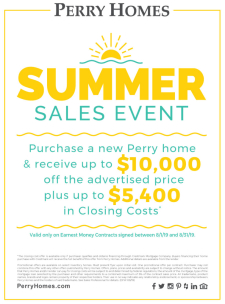 Perry Homes Summer Sales Event through August 31st