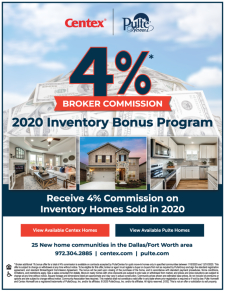 Receive 4% Commission on Inventory Homes Sold in 2020