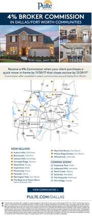 Receive a 4% Commission on Quick Move-In Homes*