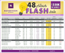 Rendition Homes 48 Hour Flash Sale Realtor Incentive