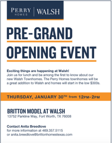 Save the Date | Pre-Grand Opening Event for our Townhomes at Walsh in Fort Worth!