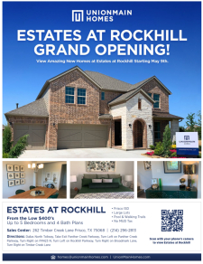 UnionMain Homes Now Open in Estates at Rockhill – Frisco ISD!