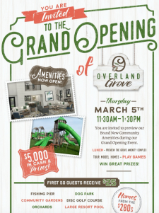 You're Invited - Overland Grove Grand Opening in Forney Mar 5th