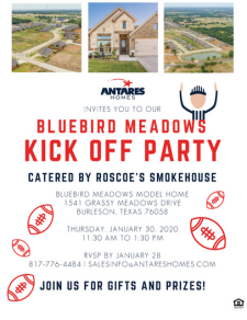 You're invited to our Bluebird Meadows Kick Off Party!