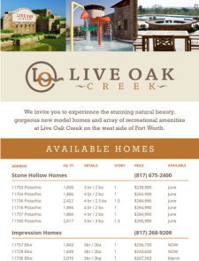 New Homes Available in West Fort Worth at Live Oak Creek