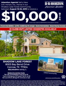 $10K Bonus in Shadow Lake Forest!