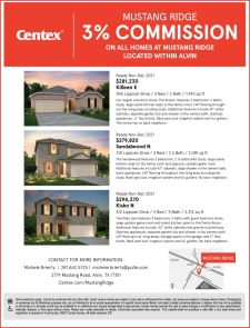 3% Commission on ALL Homes at Mustang Ridge!