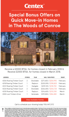 Broker Bonus on Quick Move-In Homes at The Woods of Conroe