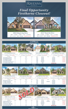 Final Inventory in Firethorne, 2 Homes Remaining!