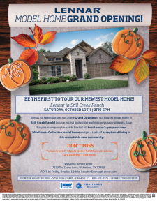 Grand Opening in Still Creek Ranch – Pumpkin Patch, Face Painting, and Cookies!