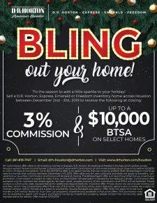 Holiday Bling is here with up to $10,000 BTSA on Move-in Ready Homes across Houston!