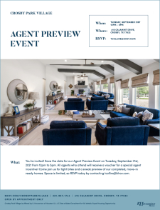 Join us at Crosby Park Village for an Agent Preview Event!