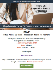 July 9 - Register for a Virtual CE Class – Inspection Basics