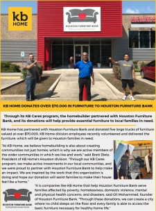 KB Home Houston Giving Back To Local Community