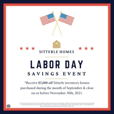Receive $5,000 Off Inventory Homes During Labor Day Savings Event!*